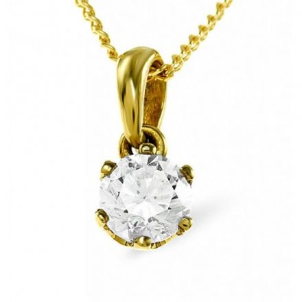 18K Gold 0.90ct H/si2 Diamond Pendant, DP01-90HS2Y